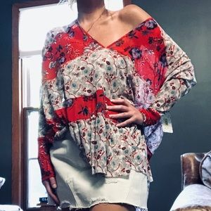 Free People Isabelle cherry combo tunic